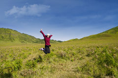 Excited female jumping in grass field Stock Images