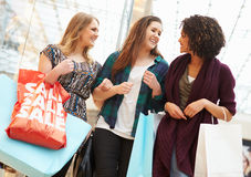 Excited Female Shoppers With Sale Bags In Mall. Looking At Each Other Smiling Royalty Free Stock Photo