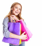 Excited female with shopping bags Stock Photo
