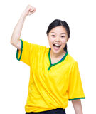 Excited female soccer fans screaming Royalty Free Stock Photo
