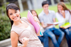 Excited female student Royalty Free Stock Image