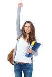 Excited female student raising hand her hand isolated on white. Excited female student raising hand her hand isolated on white background Royalty Free Stock Image
