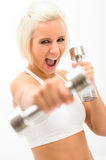 Excited fitness woman workout dumbbells exercise Royalty Free Stock Photos