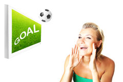 Excited football fan Royalty Free Stock Image