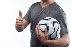 Excited football fan with ball Royalty Free Stock Photos