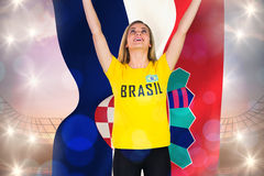 Excited football fan in brasil tshirt holding croatia flag Royalty Free Stock Image