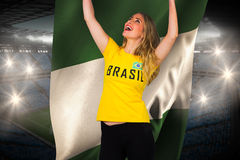 Excited football fan in brasil tshirt holding nigeria flag Royalty Free Stock Photography