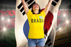 Excited football fan in brasil tshirt holding south korea flag. Excited football fan in brasil tshirt against holding south korea flag vast football stadium with royalty free stock photos