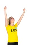 Excited football fan in brasil tshirt Royalty Free Stock Images