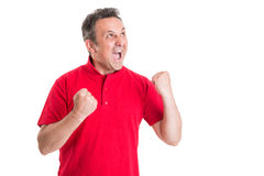 Excited football fan screaming Stock Photography