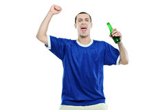 Excited football fan watching sport. Isolated on white background Stock Photography