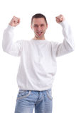 Excited football fan watching sport Royalty Free Stock Photos