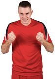 Excited football player cheering Royalty Free Stock Photo