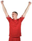 Excited football player cheering Royalty Free Stock Images