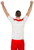 Excited football player cheering Stock Images