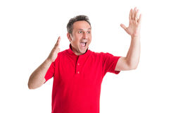 Excited football or soccer fan Royalty Free Stock Photo