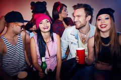 Excited Friends Clubbing at Swag Party Royalty Free Stock Photos