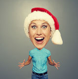 Excited and funny girl in red hat Stock Photography