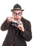 Excited Funny Man with Camera Pointing Royalty Free Stock Images