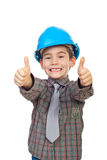Excited future architect give thumbs Royalty Free Stock Photography