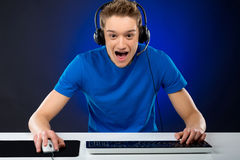 Excited gamer. Royalty Free Stock Photos