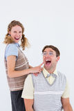 Excited geeky hipster couple Royalty Free Stock Image