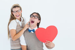 Excited geeky hipster and his girlfriend Royalty Free Stock Photo