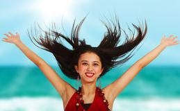 Excited Girl At The Beach Royalty Free Stock Image