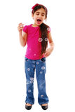 Excited girl blowing bubbles Stock Photography