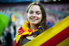 Excited girl with Catalonia flag Royalty Free Stock Images