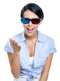 Excited girl in 3D glasses Stock Photography