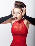 Excited girl fashion beauty model pulling her hair Stock Photo
