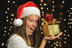 Excited Girl with Gift stock photo