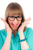 Excited girl with glasses Royalty Free Stock Photos