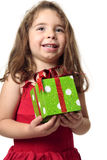 Excited Girl Holding A Present Royalty Free Stock Images