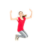 Excited girl jumping Royalty Free Stock Image