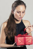 Excited Girl Open Christmas Present Stock Images