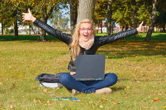 Excited girl in the park Royalty Free Stock Photography
