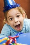 Excited girl at party. stock photos