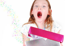 Excited Girl with Present Royalty Free Stock Photo