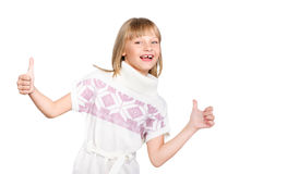 Excited girl showing thumbs up Royalty Free Stock Images