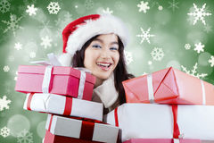 Excited girl with surprise gift Stock Photo