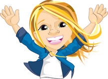 Excited Girl Waving Both Hands Royalty Free Stock Photography
