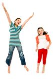 Excited girls jumping Royalty Free Stock Photography