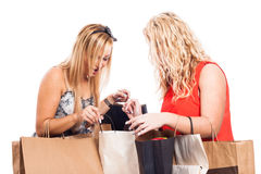 Excited girls shopping Royalty Free Stock Photos