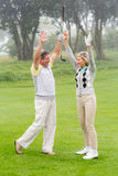 Excited golfing couple cheering. On a foggy day at the golf course Royalty Free Stock Image