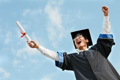 Excited graduate student stock image