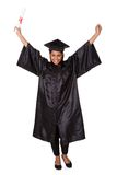 Excited graduate woman holding certificate Stock Image