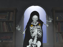 Excited Grim Reaper. Against the backdrop of an old window Royalty Free Stock Photos