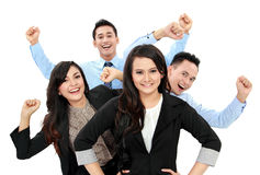 Excited group of business people Stock Photo